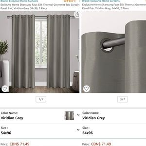 Faux Silk Thermal Curtain Pair Grey, 54x96